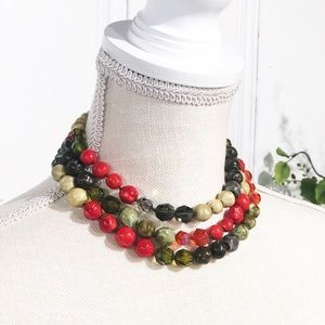 Vintage Red & Green 3-strand Beaded Necklace